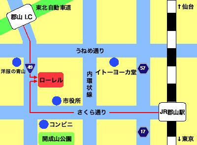 福島県郡山のローレルの地図